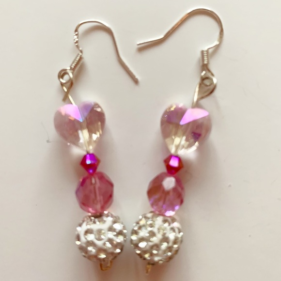 Pinkalicious Jewelry - JUST ADDED Pink Crystal Heart Earrings P1027